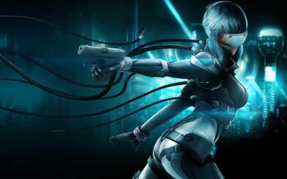 cyborg, девушка, фантастика, доспехах, ghost, провода, масть, пистолет,