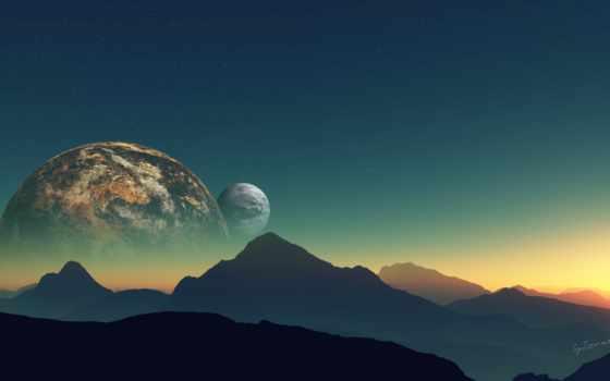 горы, ландшфат, планета, спутник, звезды, небо, landscapes, planets, планеты, artwork, mountains, пейзажи, искусства, цифровое, art, произведения, digital,