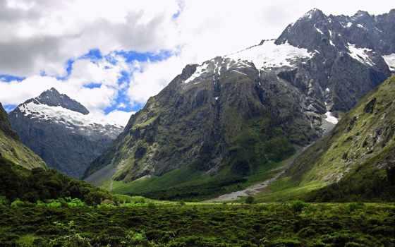 горы, zealand, новая