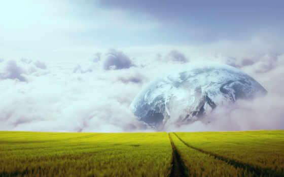 луна, горизонт, earth, clouds,