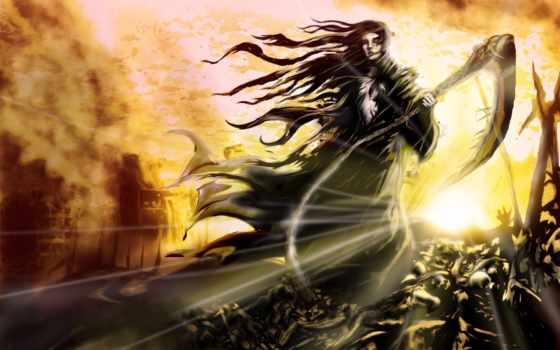 art, девушка, смерть, фантастика, волосы, черепа, ветер, косичка, fantasy, огонь, пламя,