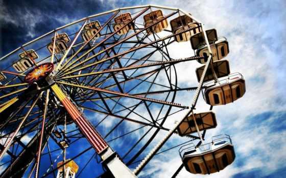 колесо, аттракцион, аттракционов, обозрения, парка, аттракционы, park, парке,