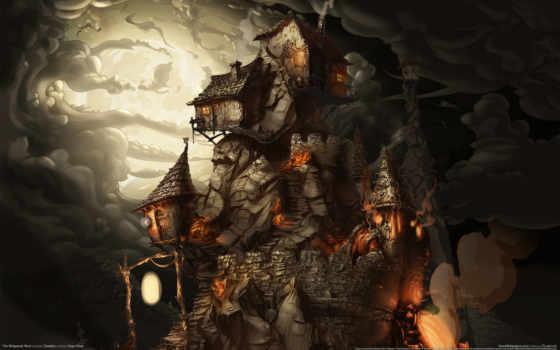 рисунок, rock, oblaka, darkness, art, домики,