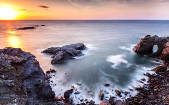 acantilado, восход, закат, испания, murcia, cartagena, скалистый, photos, cliff, берег,