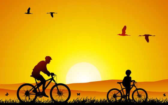велосипедная, прогулка, fone, отца, солнца, летящих, заходящего, яркого, felikc, траве, сына,