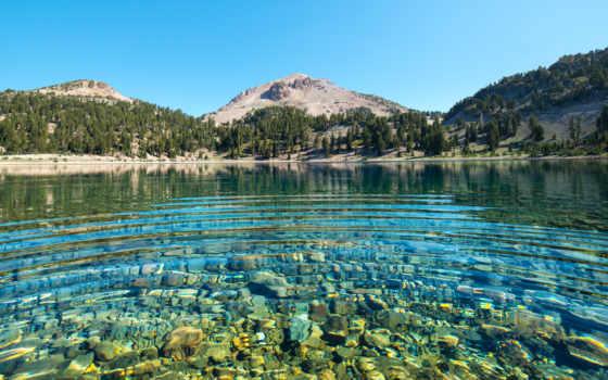 озеро, камни, горы, заставки, national, lassen, helen,