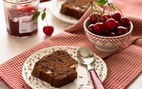 выпечка, пирог, тарелка, джем, ложка, черешня, кекс,
