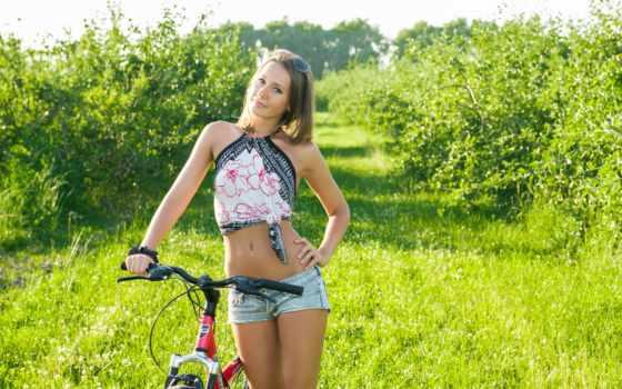 велосипеде, девушка, голая, велосипед,