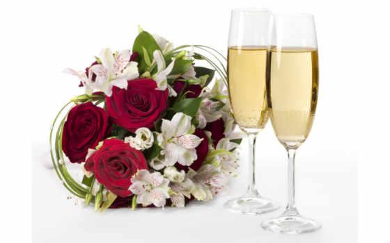 шампанское, розы, цветы, букет, бокалы,