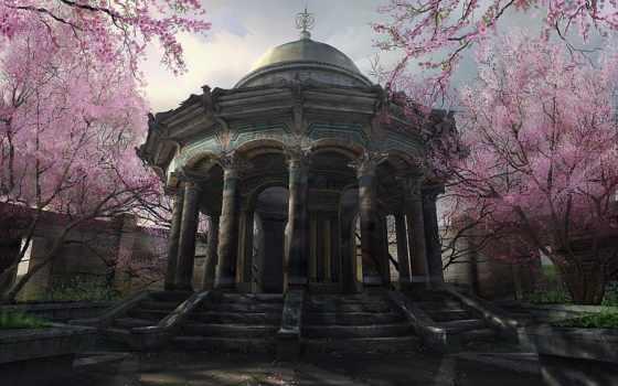 беседка, park, Сакура, garden, цветущей,