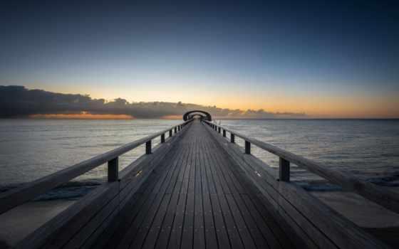 море, pier, wooden, небо, water, браун, док, mac, рамочка, black