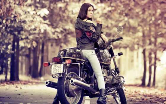 девушка, мотоциклы, мотоцикл