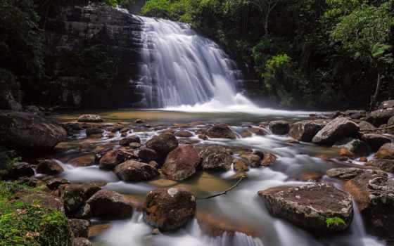 природа, водопад, река, лес, картинка, водоспад, камни, trees, rock, осень, поток,