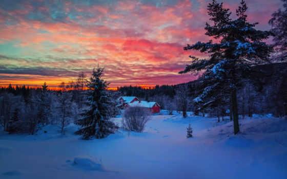 winter, закат, небо, снег, вечер, oblaka, house, лес, краски,