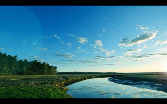 река, природа, фотографий, берег, landscape, distance, дек, лес, winter, снег, небо,