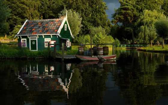 lodge, trees, лес, река, лодка, природа, озеро, картинка, пруд, summer, park,
