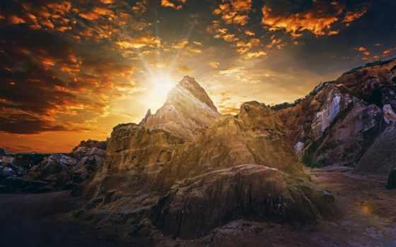 горы, rising, sun, рассвет, закат, параиба, солнца, дешевые, brazilian, небо,
