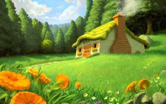lodge, рисованные, сказочный, сказочные, summer, домики,