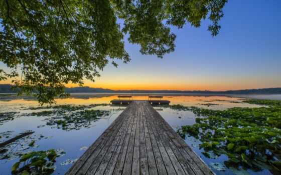 пирс, закат, озеро