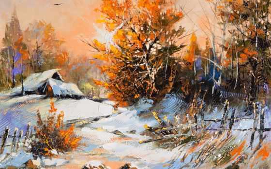 winter, деревня, снег, домики, огни,