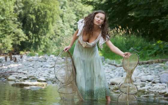 природа, девушка, рыбалка, река, шатенка, женщина, красивые, кудри,