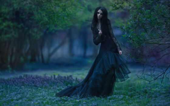 девушка, fashion, gothic, лес, платье, чёрн, женский, dark