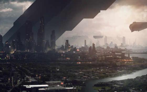 город, будущее Фон № 4915 разрешение 3840x1406