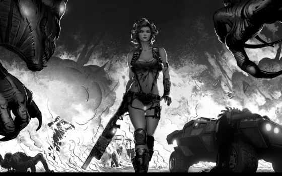 монстры, транспорт, взрыв, арт, девушка, ружьё, картинку, кнопкой, правой,