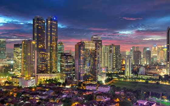 jakarta, indonesia, город, ночь, play,