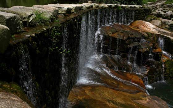 водопад, камни, лес