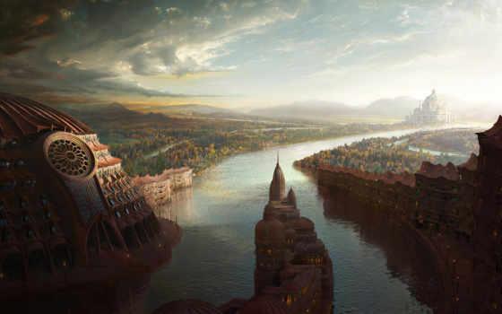 город, старинный, графика, лес, города, река, архитект,