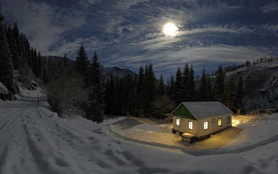 лес, коттедж, winter, moonlight, images,