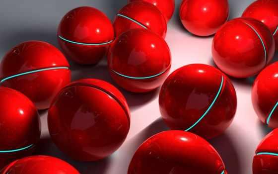 красные, сфера, шары, rendering, мяч,