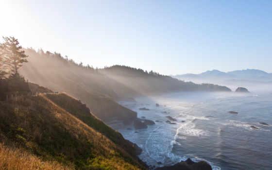 красивые, пейзажи -, дымка, туманы, природой, природа, full, горы,