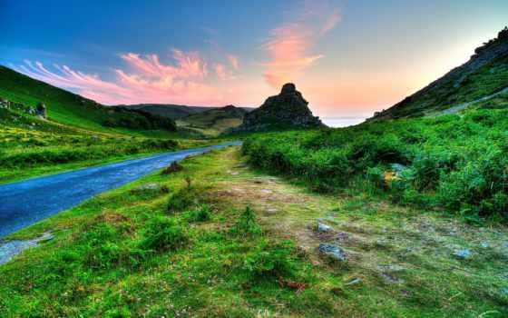 exmoor, top, пиратские, landscape, great, taevas, rock, rohi, великобритания, gb,