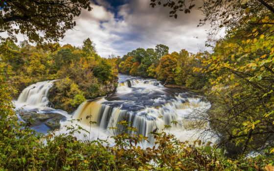 escocia, bosques, clyde, del, otoño, cascadas, hermosa, valle, rboles, río, compra,