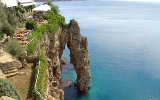 antalya, море, скалы, турции, paysages, les, рейсы, пейзажи -,
