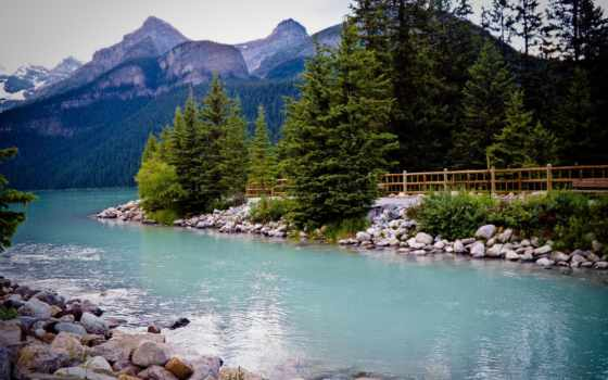 louise, озеро, канада, lago, luiz, альберта, banff,