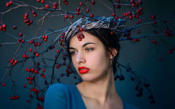 devushki, девушка, шляпа, голове, ягодами, веток, платье,
