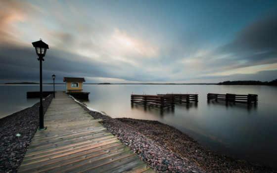 sweden, небо, море, oblaka, швеции, water, вечер, красивые, побережье, спокойствие,
