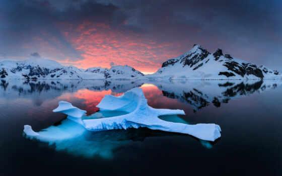 небо, гора, природа, декабрь, льдина, вечер, тематика, добавить, под, окно, красивый
