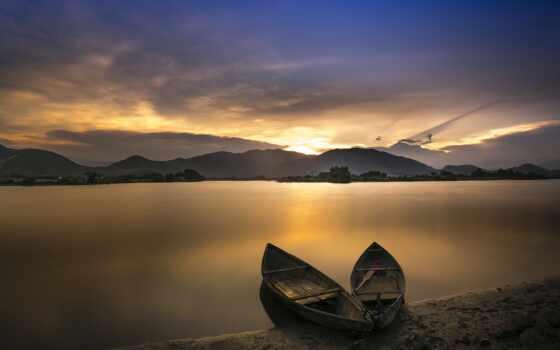 лодка, озеро, закат, побережье, два, река, гора, день, нефть