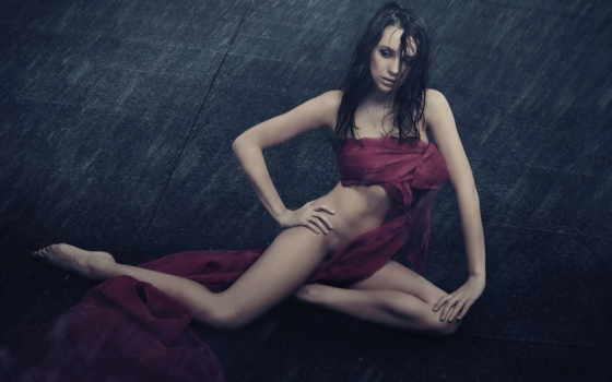 девушка, ткань, мокрые