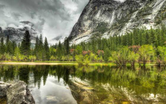 горы, природа, тучи, озеро, деревья, water, небо,