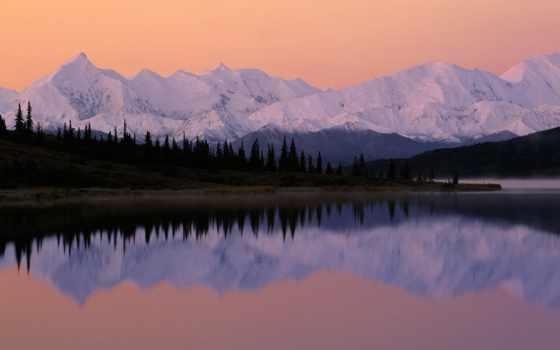 сол, аляска, alasca, lago, parede, papel, denali, nascer, del,
