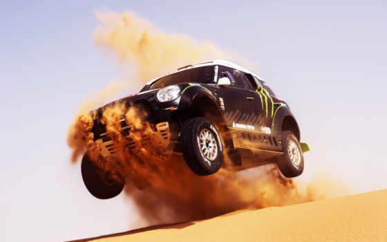 мини, воздухе, скорость, race, black, спорт, dune, машина, летит, песок,