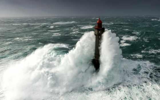 lighthouse, побережье, франции, картинка, буря, острове, маяки, атлантическом, картинку, architecture,