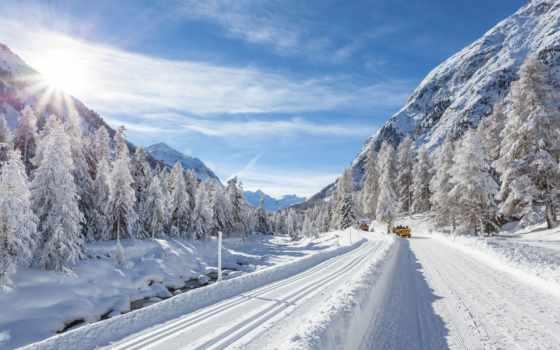 дорога, зимняя, снег, winter, фотообои, лес, машины, горах, дороге, широкоформатные, красивые,