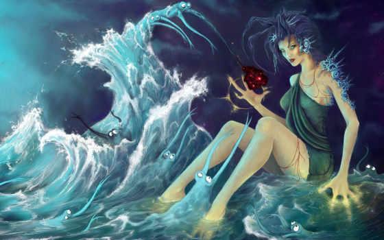 вода, морская, водные, девушка, ведьма, черти, четыре, fantasy, пальца, ракушки, girls, нравится, story,