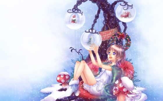 аниме, рождество, новый